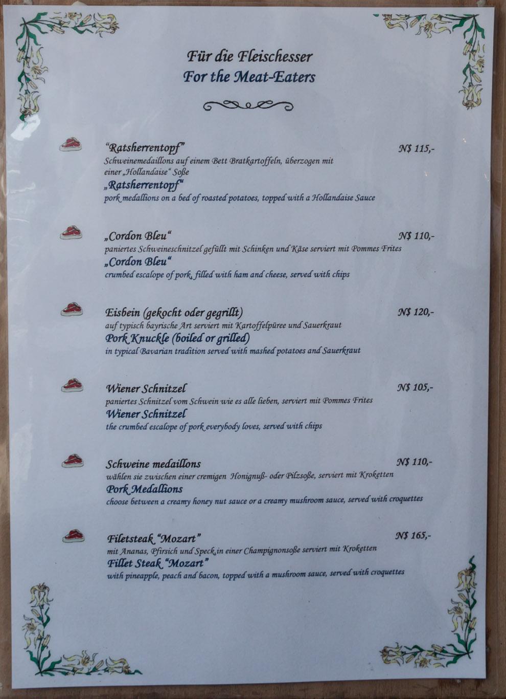 Restaurant Karte